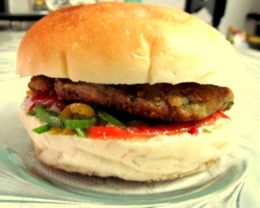 Aloo tikki burger with marinated peppers burger