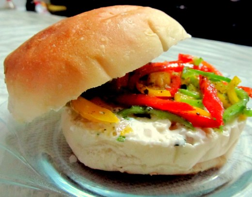 Marinated peppers burger