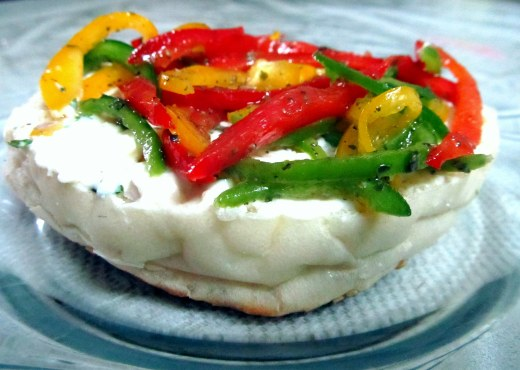 Marinated peppers on burger