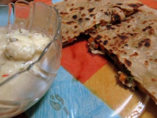 Mix veg partha with paneer in white gravy