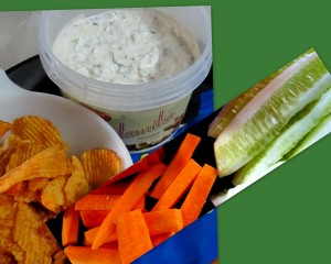 Dip with chips n crudites