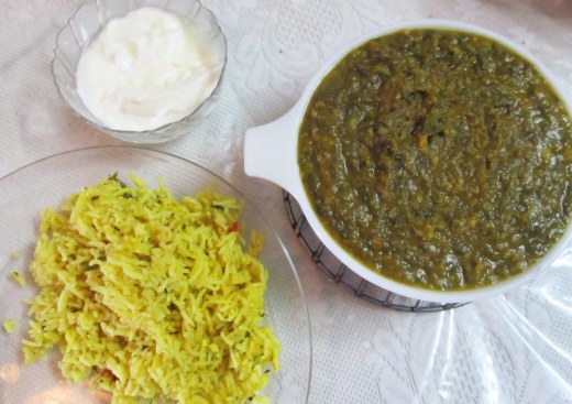 sai bhaji with rice n curd
