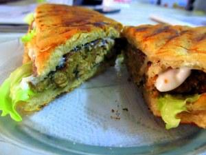 chicken panini sandwich sliced