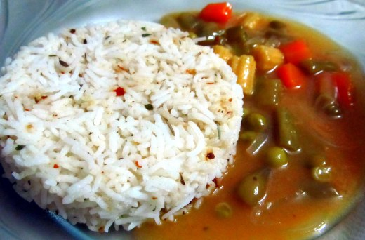 Veg stroganoff with herbed butter rice