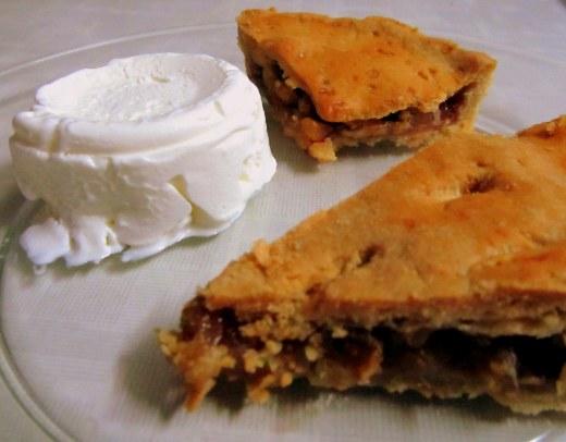 Apple pie served with vanilla ice-cream