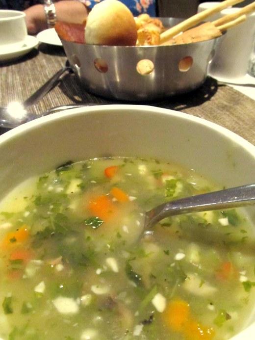 Jade Garden Vegetable Soup with bread basket