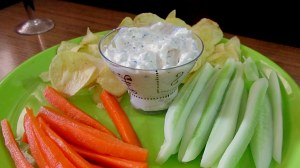 curd dip with carrot n cucumber sticks and wafers