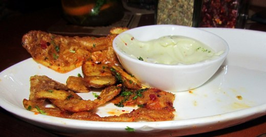 Potato skins with wasabi mayo